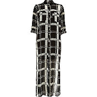 Black check lightweight maxi shirt dress