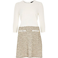 Cream boucle A-line split design dress