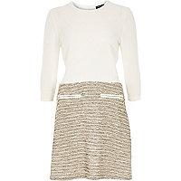 Cream boucle A-line split design dress