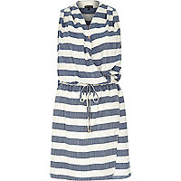 Denim stripe sleeveless wrap shirt dress