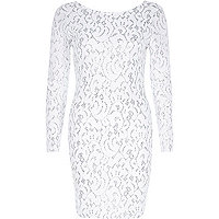Silver jacquard bodycon dress