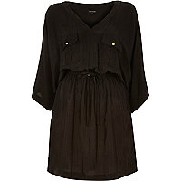 Black drawstring waist kimono dress