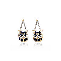 Gold tone woven disk earrings
