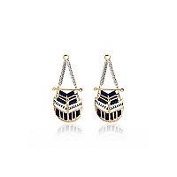 Gold tone woven disk earrings
