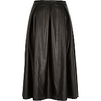 Black leather-look pleated midi skirt
