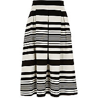 Black and white stripe midi skirt