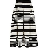 Black and white stripe midi skirt