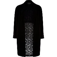 Black half lace back duster jacket