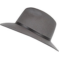 Grey leather-look trim fedora hat