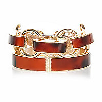 Gold tone tortoise shell bangle pack