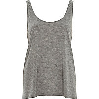 Grey marl scoop neck relaxed fit jersey vest
