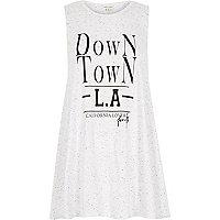 White marl down town LA print swing tank