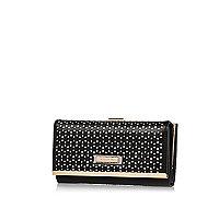 Black lacer cut clip top purse