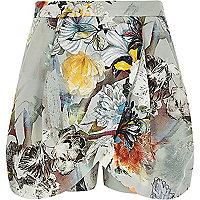 Grey floral print chiffon skort