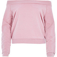 Pink burnout casual long sleeve bardot top