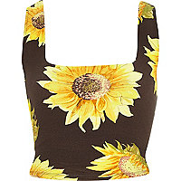 Black sunflower print square neck crop top