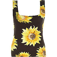 Black sunflower print square neck top
