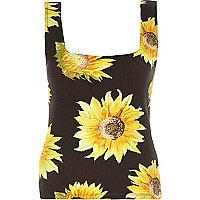 Black sunflower print square neck top