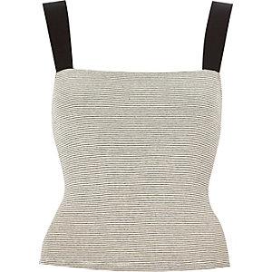 White stripe square neck crop top