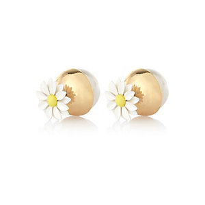 White daisy front and back earrings