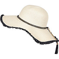 Cream woven chain trim floppy hat