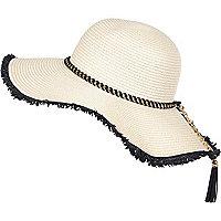 Cream woven chain trim floppy hat