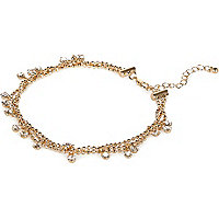Gold tone crystal droplet chain anklet