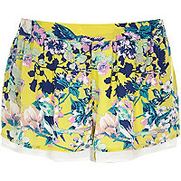 Yellow floral print shorts