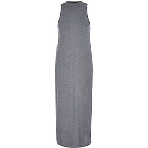 Grey high neck ribbed split side tunic