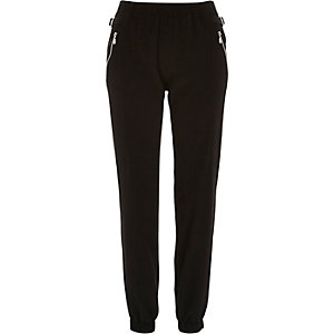 Black crepe zip side joggers