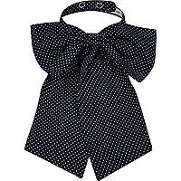 Navy polka dot print neck bow