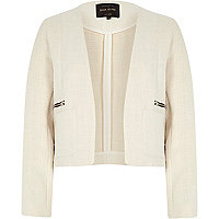 Cream organza tweed boxy jacket