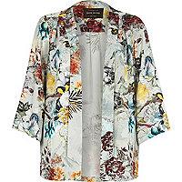 Red floral print 3/4 sleeve kimono