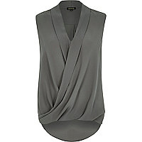 Grey loose wrap front blouse