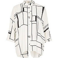 White window pane print split back shirt