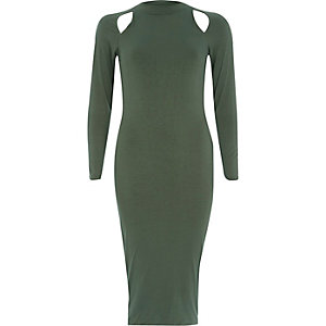 Khaki cut out long sleeve bodycon dress