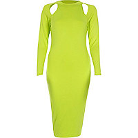 Lime cut out long sleeve bodycon dress