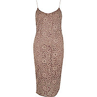 Dark beige lace cami dress