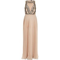 Nude woven sequin embellished maxi dress