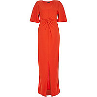Red twist front maxi dress