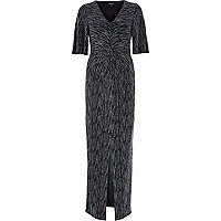 Silver sparkle twist front maxi dress