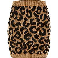 Brown leopard print brushed knitted skirt
