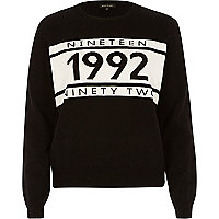 Black knitted 1992 slogan jumper