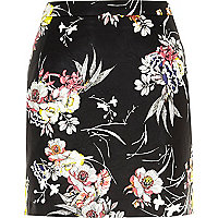 Black floral print leather-look mini skirt