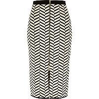 Black chevron stripe jacquard pencil skirt