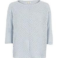 Blue boxy crochet top
