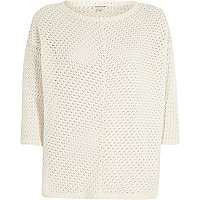 Cream crochet knitted top