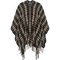 Grey tartan zip front cape