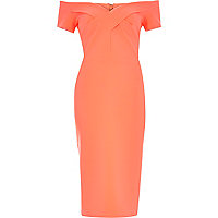 Coral bandeau bardot bodycon midi dress