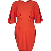 Orange cape kimono wiggle dress